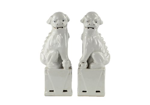 Fine Asianliving Chinese Foo Dogs Wit Porselein Set/2 Handgemaakt