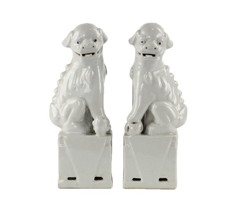 Chinese Foo Dogs White Porcelain Set/2 Handmade W11xD7xH28cm
