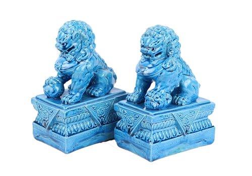 Fine Asianliving Chinese Foo Dogs Tempel Bewakers Leeuwen Porselein Blauw Set/2 Handgemaakt