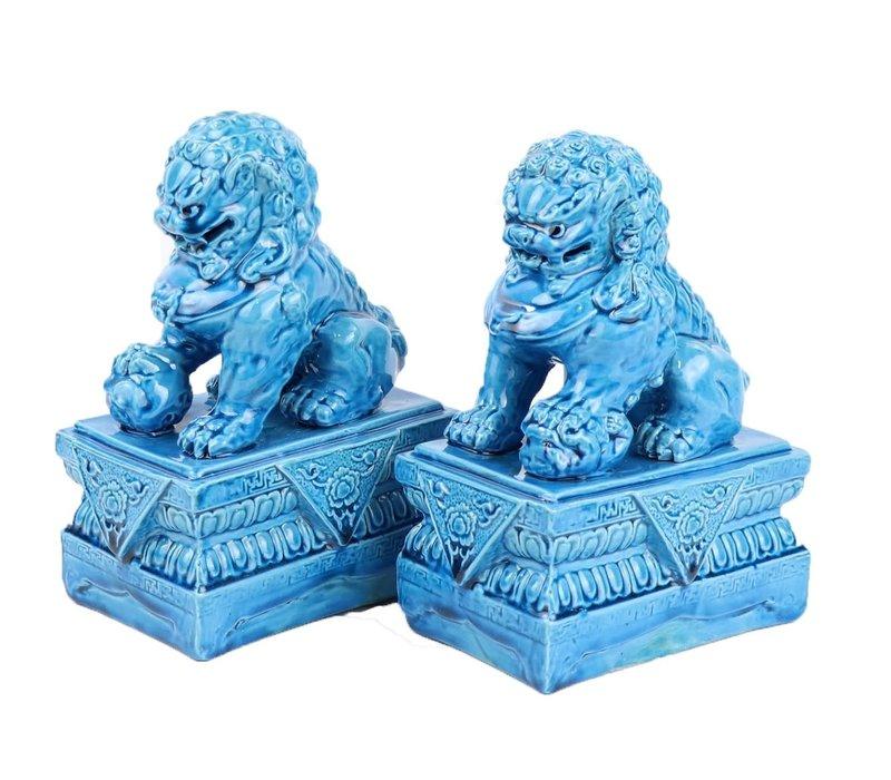Chinese Foo Dogs Temple Guardian Lions Porselein Blauw Set/2 Handmade