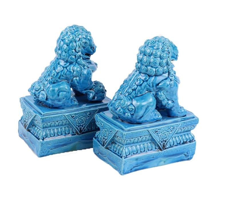 Chinese Foo Dogs Temple Guardian Lions Porcelain Blue Set/2 Handmade