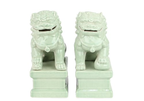 Fine Asianliving Chinese Foo Dogs Temple Guardian Lions Porcelain Mint Set/2 Handmade W6xD8xH15cm