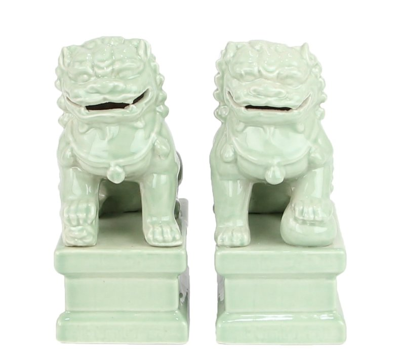 Chinese Foo Dogs Temple Guardian Lions Porcelain Mint Set/2 Handmade