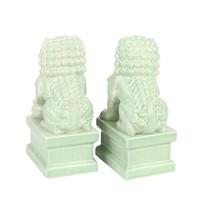 Chinese Foo Dogs Tempel Bewakers Leeuwen Porselein Mint Set/2 Handgemaakt