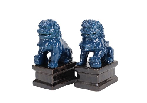 Fine Asianliving Chinese Foo Dogs Temple Guardian Lions Porcelain Navy Set/2 Handmade W9xD9xH16 cm