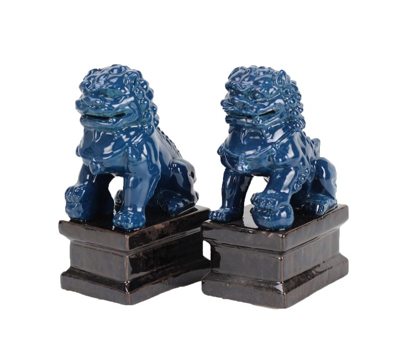 Chinese Foo Dogs Temple Guardian Lions Porcelain Navy Set/2 Handmade