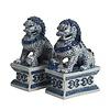 Fine Asianliving Chinese Foo Dogs Blauw Wit Tempel Bewakers Leeuwen Porselein Set/2 Handgemaakt B7xD10xH16cm