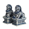 Fine Asianliving Chinese Foo Dogs Blue White Temple Guardian Lions Porcelain Set/2 Handmade