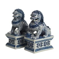 Chinese Foo Dogs Blue White Temple Guardian Lions Porcelain Set/2 Handmade