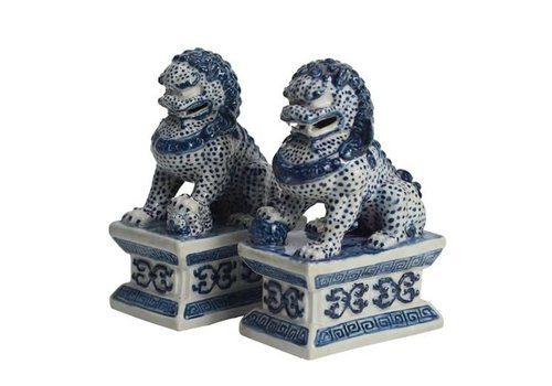 Fine Asianliving Chinese Foo Dogs Blue White Temple Guardian Lions Porcelain Set/2 Handmade W7xD10xH16cm