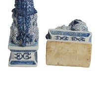 Chinese Foo Dogs Blauw Wit Temple Guardian Lions Porselein Set2 Handmade