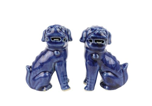 Fine Asianliving Chinese Foo Dogs Blue Porcelain Set/2 Handmade