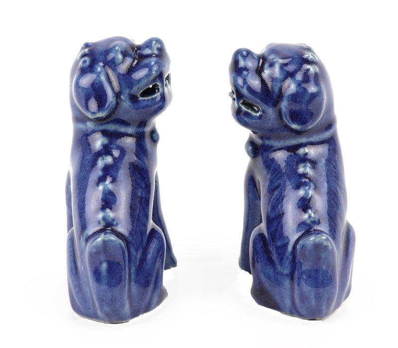 Chinese Foo Dogs Blauw Porselein Set/2 Handmade