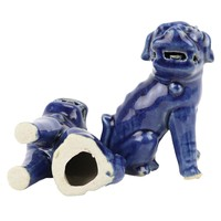 Chinese Foo Dogs Blue Porcelain Set/2 Handmade