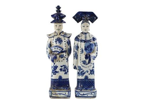 Fine Asianliving Chinese Beelden Blauw Wit Porselein Keizer Keizerin Set/2 Handmade