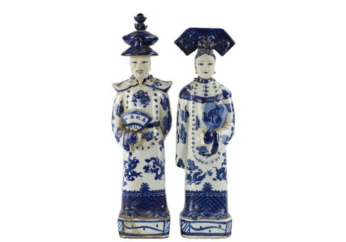 Fine Asianliving Chinese Statues Blue White Porcelain Emperor Empress Set/2 Handmade