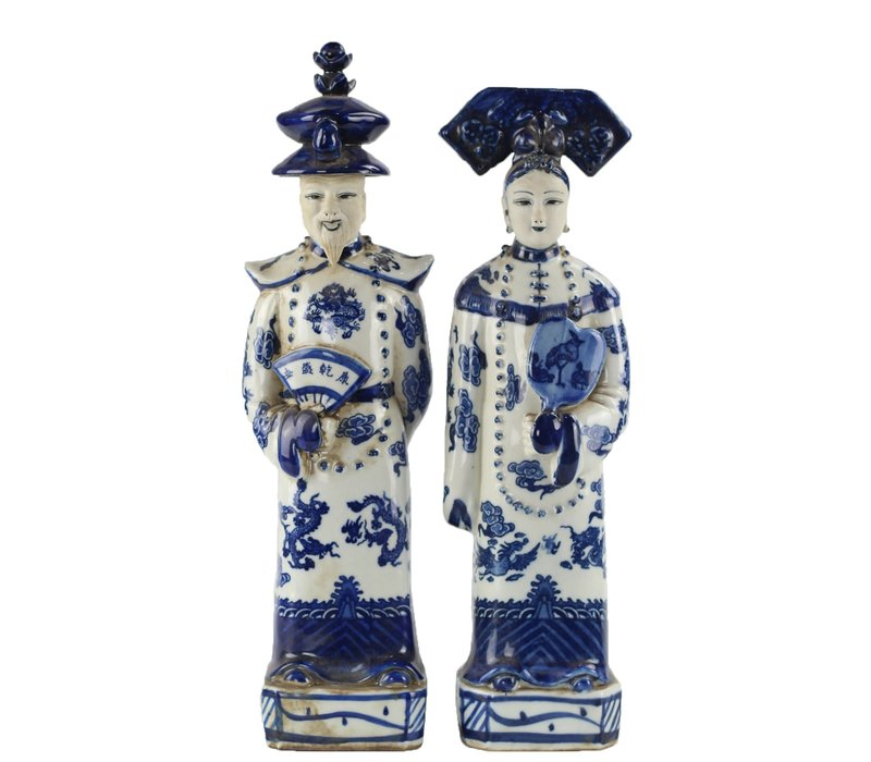 Chinese Beelden Blauw Wit Porselein Keizer Keizerin Set/2 Handmade