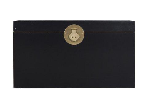 Fine Asianliving Malle Coffre de Rangement Onyx Noir - Orientique Collection L90xP45xH50cm
