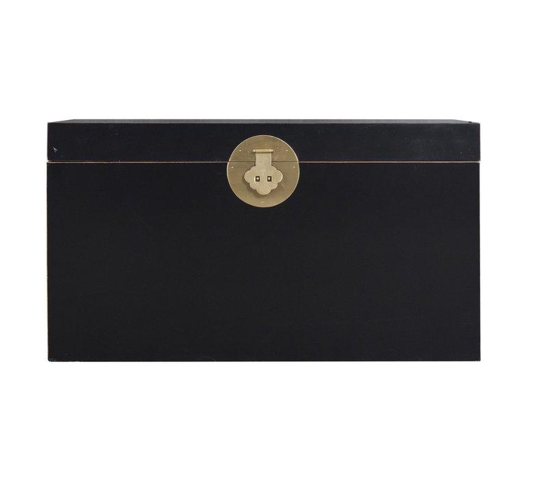 Malle Coffre de Rangement Onyx Noir - Orientique Collection L90xP45xH50cm