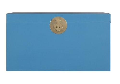 Fine Asianliving Malle Coffre de Rangement Bleu Saphir - Orientique Collection L90xP45xH50cm
