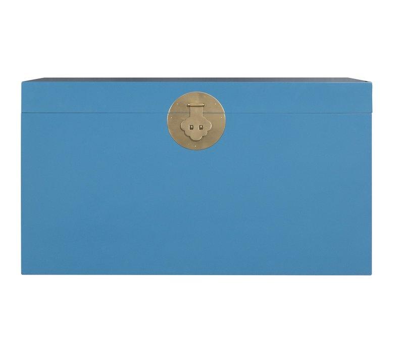 Baule Cassapanca Cinese Blu Zaffiro - Orientique Collezione L90xP45xA50cm