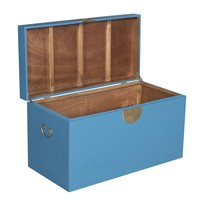 Malle Coffre de Rangement Bleu Saphir - Orientique Collection L90xP45xH50cm