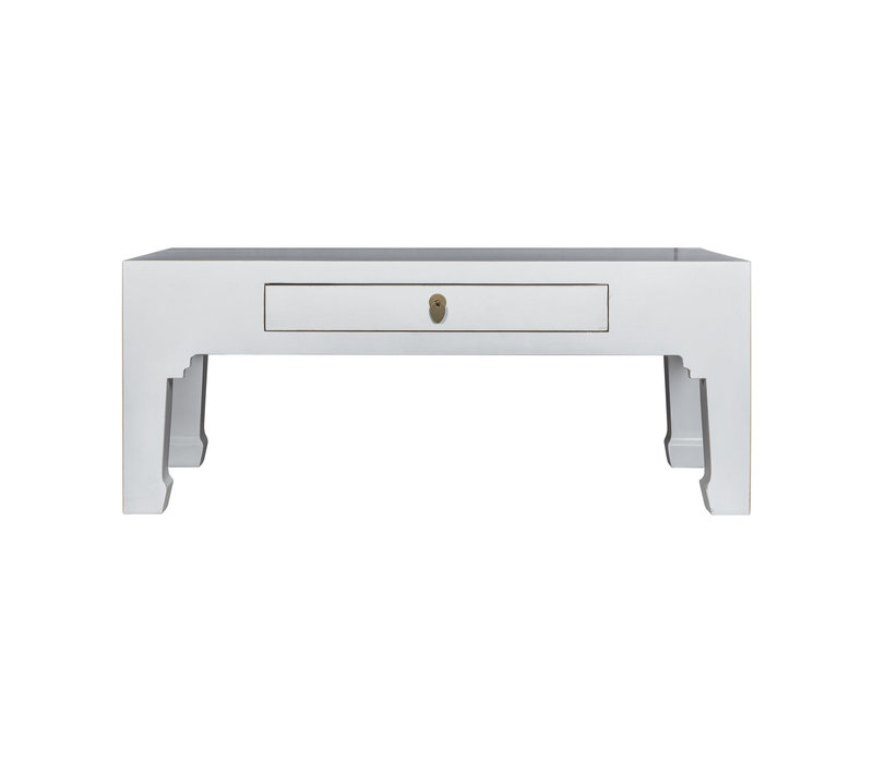 Table Basse Chinoise Blanc - Orientique Collection L110xP60xH45cm