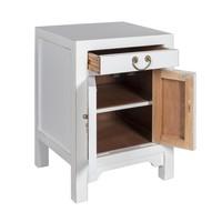 Table de Chevet Chinoise Blanc - Orientique Collection L42xP35xH60cm