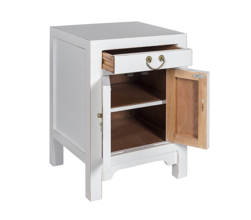 Chinese Bedside Table Snow White - Orientique Collection L42xW35xH60cm
