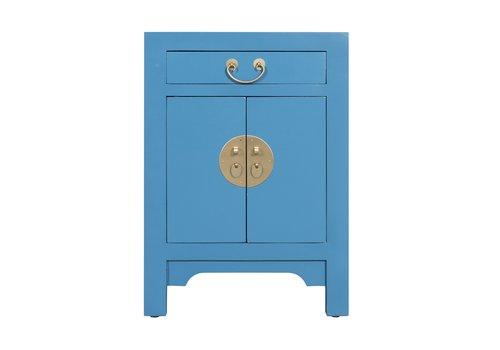 Fine Asianliving Comodino in Legno Cinese Blu Zaffiro - Orientique Collezione L42xP35xA60cm