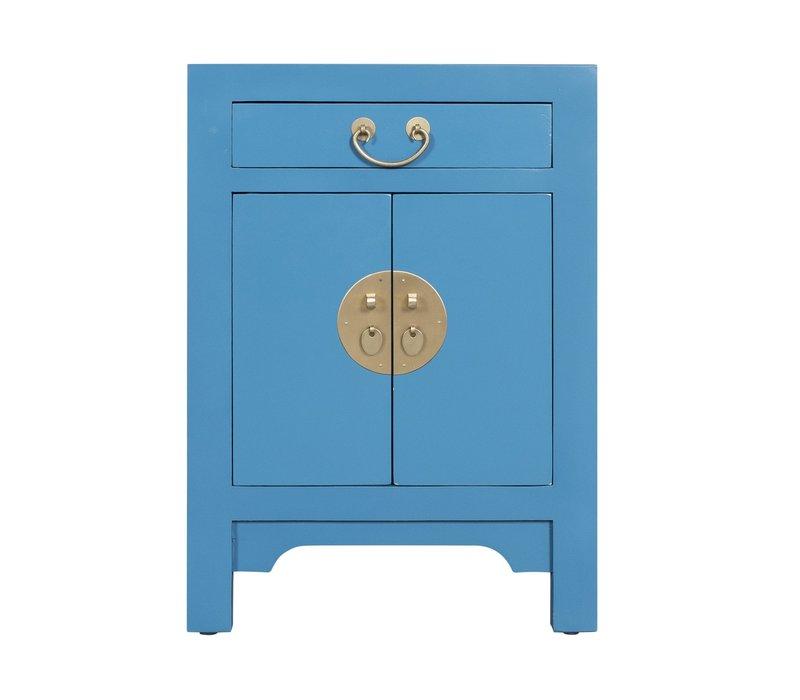 Comodino in Legno Cinese Blu Cielo - Orientique Collezione L42xP35xA60cm