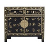 Fine Asianliving Buffet Chinois avec Papillons peints à la Main Onyx Noir L90xP40xH80cm