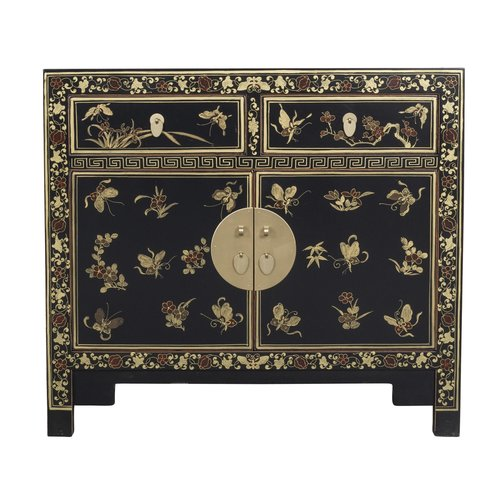 Chinese Sideboard Handpainted Butterflies Onyx Black - Orientique Collection L90xW40xH80cm