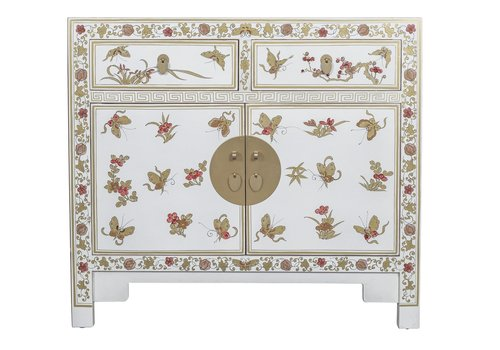Fine Asianliving Buffet Chinois Papillons Peints à la Main Blanc L90xP40xH80cm