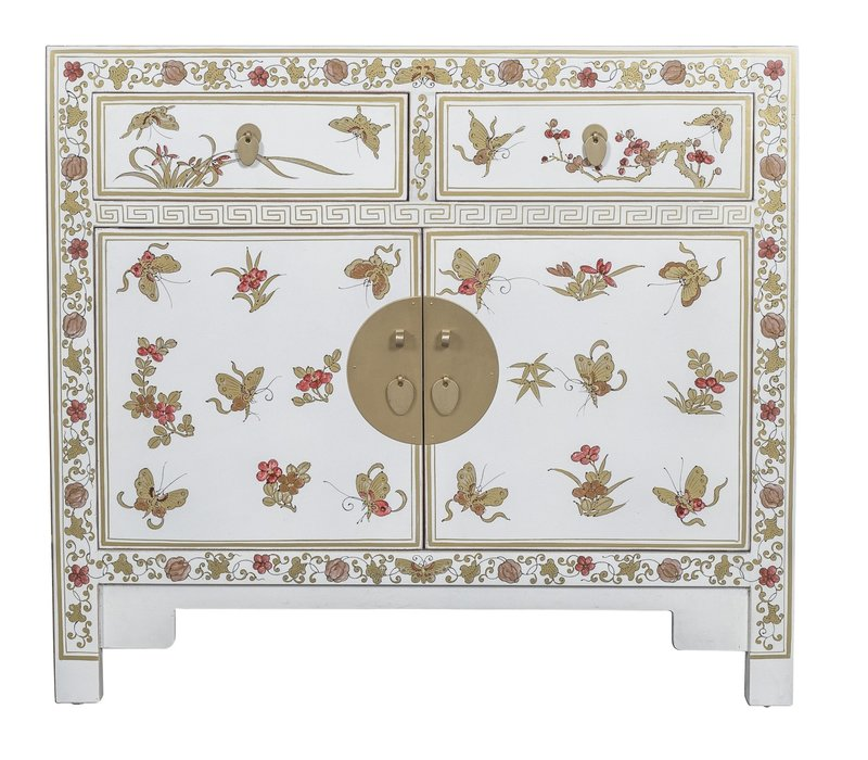Chinese Sideboard Handpainted Butterflies Snow White - Orientique Collection L90xW40xH80cm