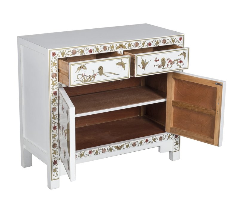 Chinese Sideboard Handpainted Butterflies Snow White W90xD40xH80cm