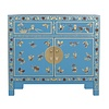 Fine Asianliving Chinese Kast Handgeschilderde Vlinders Sapphire Blue - Orientique Collection L90xB40xH80cm
