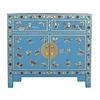 Fine Asianliving Chinesisches Sideboard Kommode Handbemalte Schmetterlinge Saphirblau B90xT40xH80cm