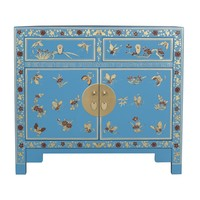 Chinese Kast Handgeschilderde Vlinders Sapphire Blue - Orientique Collection L90xB40xH80cm