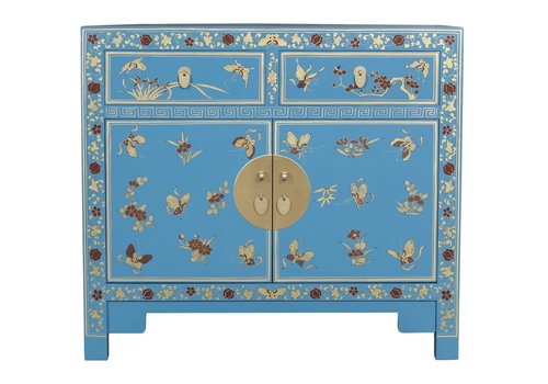Fine Asianliving Chinese Sideboard Hand-painted Butterflies Sapphire Blue W90xD40xH80cm