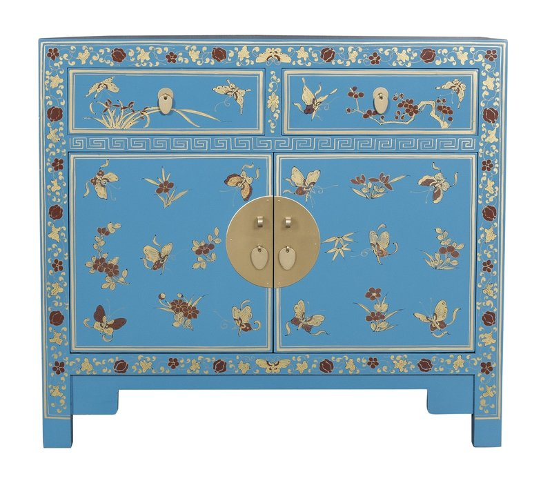 Chinese Sideboard Handpainted Butterflies Sapphire Blue - Orientique Collection L90xW40xH80cm