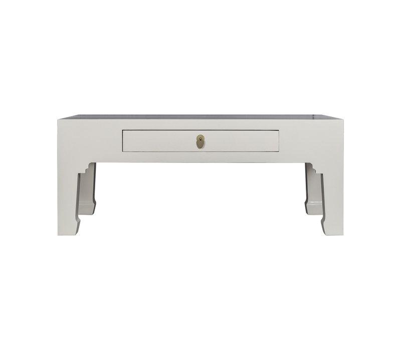 Table Basse Chinoise Moonshine Grège - Orientique Collection L110xP60xH45cm