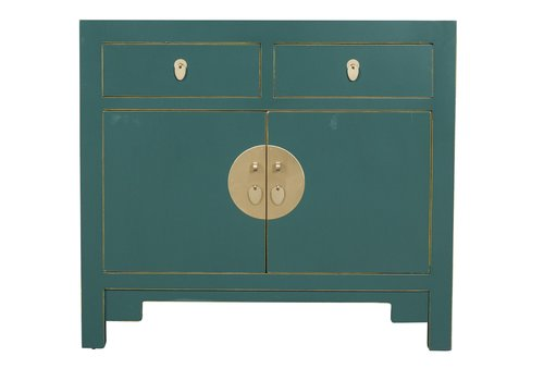 Fine Asianliving Chinese Cabinet Jade Teal Blue - Orientique Collection L90xW40xH80cm