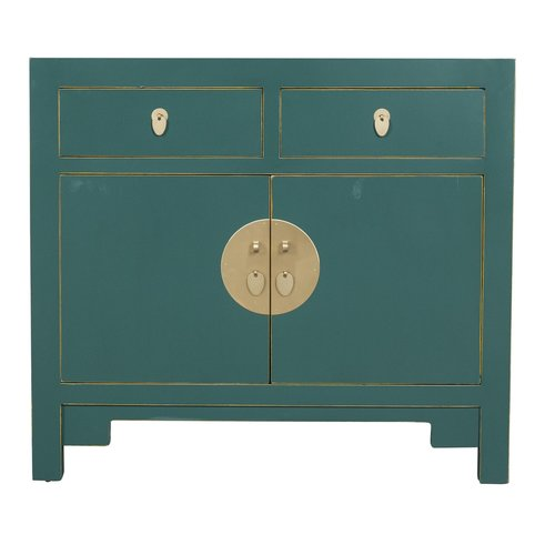 Chinese Cabinet Jade Teal Blue - Orientique Collection L90xW40xH80cm