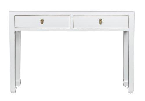 Fine Asianliving Tavolo Consolle Cinese Bianco - Orientique Collezione L120xP35xA80cm