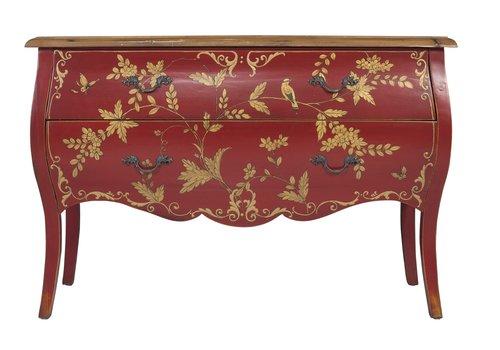 Fine Asianliving Chinese Dressoir Handbeschilderd Goud Rood Vogels L120xB48xH80cm