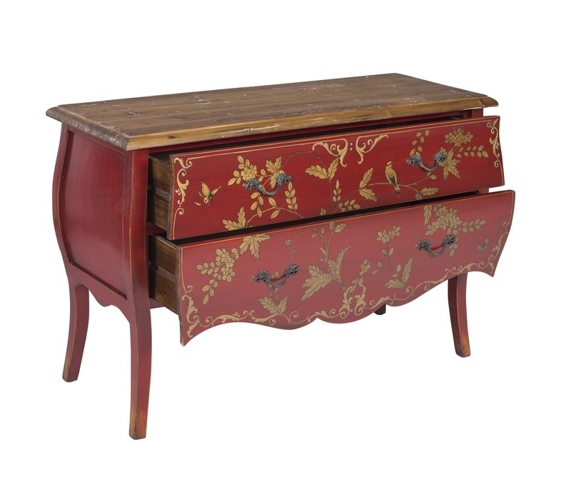 Chinese Sideboard Handpainted Gold Red Birds L120xW48xH80cm