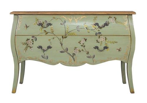 Fine Asianliving Chinese Dressoir Handbeschilderd Appel Mint Vogels L120xB48xH80cm