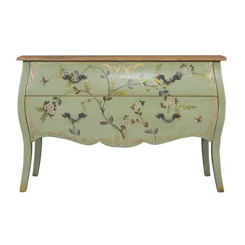 Chinese Sideboard Handpainted Apple Mint Birds L120xW48xH80cm