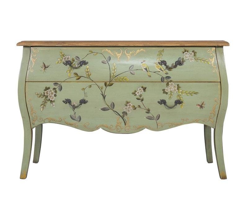 Chinese Dressoir Handbeschilderd Appel Mint Vogels L120xB48xH80cm